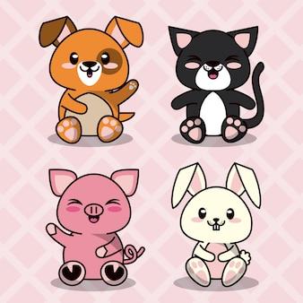 Fondo de color rosa con siluetas de diamantes con lindos animales domésticos kawaii