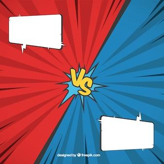 Fondo de cómic con bocadillos de diálogo y símbolo de versus