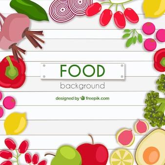 Fondo de comida con diseño plano