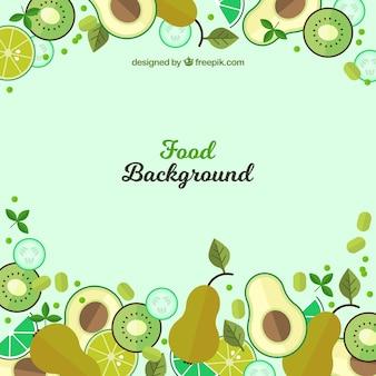 Fondo de comida con frutas verdes de diseño plano