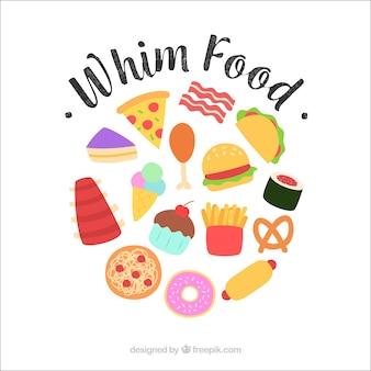 Fondo de comida deliciosa con diseño plano