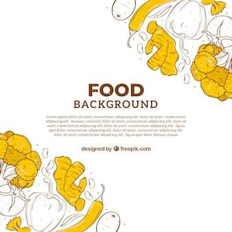 Fondo de comida orgánica dibujado a mano