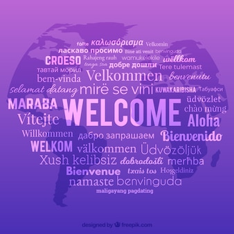 Fondo de composición de bienvenido con lenguajes diferentes