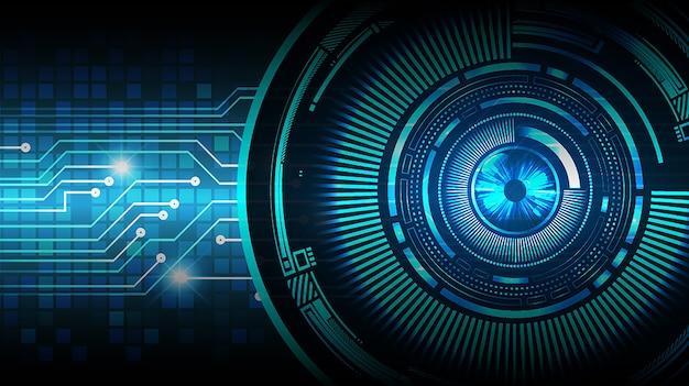 Fondo de concepto de tecnología futura de circuito ojo azul cyber