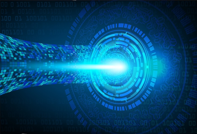 Fondo de concepto de tecnología futuro cyber ojo azul