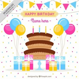 Fondo de confeti con tarta de cumpleaños