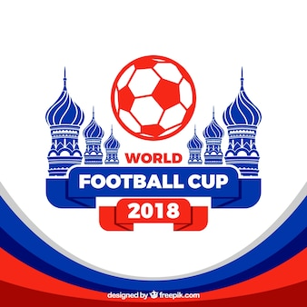 Fondo de copa mundial de fútbol con arquitectura en estilo plano