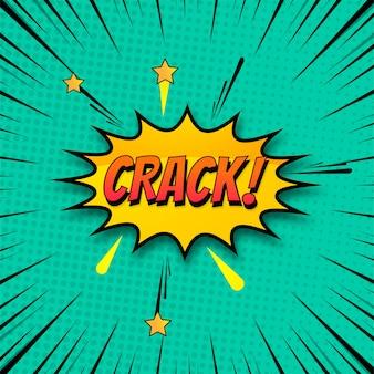 Fondo de crack en vector colorido del arte pop estilo cómico
