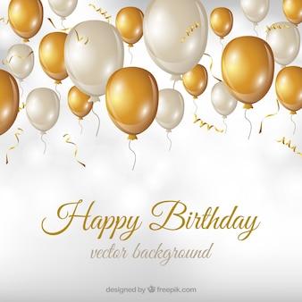 Fondo de cumpleaños con globos blancos y dorados