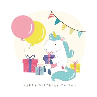 Fondo de cumpleaños con lindo unicornio