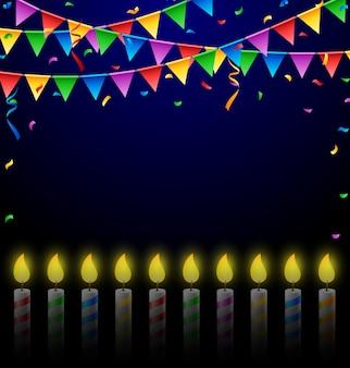 Fondo de cumpleaños con velas y banderas