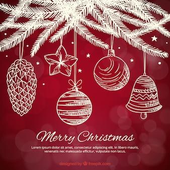 Fondo de decoración blanca navideña dibujada a mano