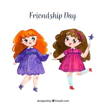 Fondo de día de la amistad con amigas