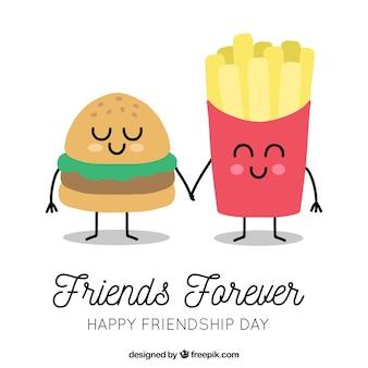 Fondo de día de la amistad con caricatura comida