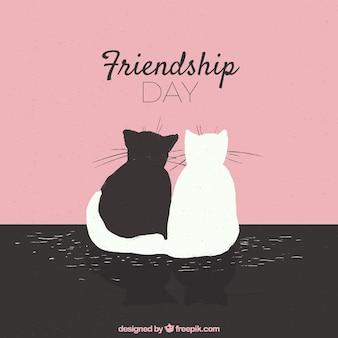 Fondo de día de la amistad con gatos