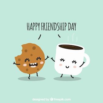 Fondo de día de la amistad con lindas caricaturas
