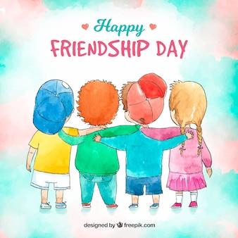 Fondo de día de la amistad con niños