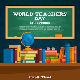 Fondo de día del maestro con pizarra y escritorio en diseño plano