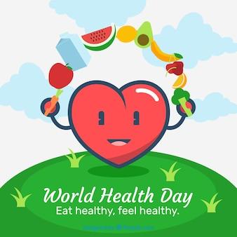 Fondo de día mundial de la salud con comida saludable
