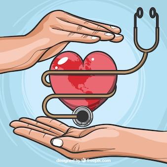 Fondo de día mundial de la salud con estetoscopio