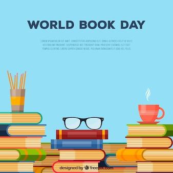 Fondo de día mundial del libro en estilo plano