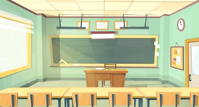 Fondo de dibujos animados con aula vacía, interior interior