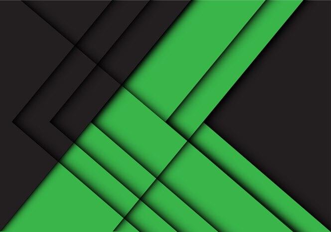 Fondo de dirección de sombra de flecha de línea negra abstracta verde.