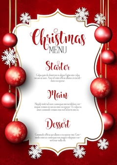 Fondo de diseño de menú de navidad