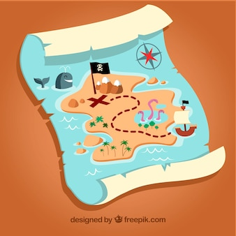 Fondo de divertido mapa pirata