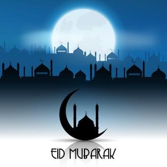 Fondo de eid mubarak con paisaje de mezquita