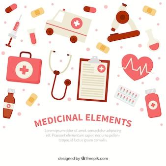 Fondo de elementos de medicina en estilo plano