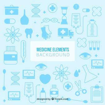 Fondo de elementos de medicine en estilo plano