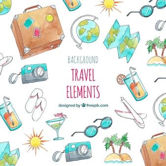Fondo de elementos de viaje de verano