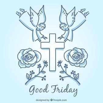 Fondo de elementos simbólicos de viernes santo
