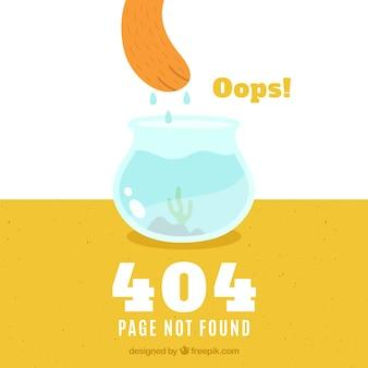 Fondo de error 404 con pecera en estilo plano