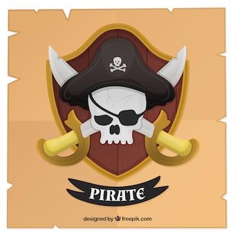 Fondo de escudo y calavera pirata con espadas en diseño plano