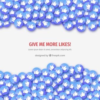Fondo de facebook con iconos de me gusta