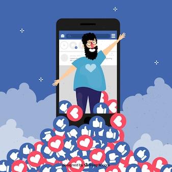 Fondo de facebook con personaje, corazones y likes
