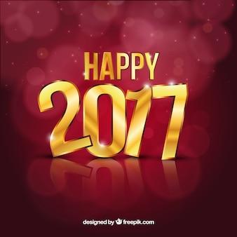 Fondo de feliz 2017 con letras doradas