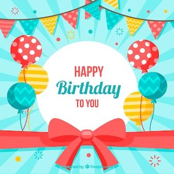 Fondo de feliz cumpleaños con globos y lazo