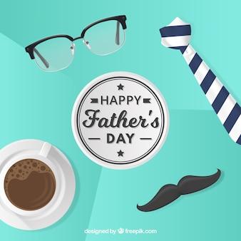 Fondo de feliz día del padre con elementos de ropa