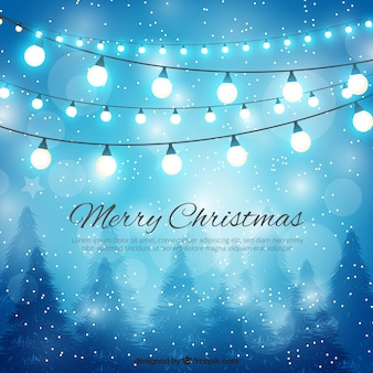 Fondo de feliz navidad de luces y nieve