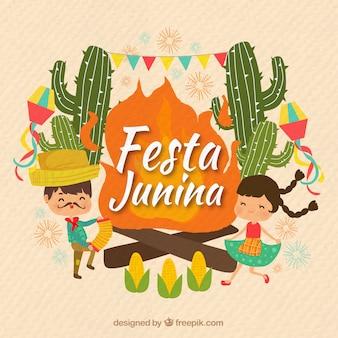 Fondo de festa junina con pareja bailando y cactus