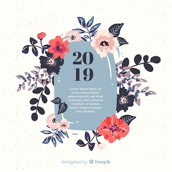 Fondo de flores de año nuevo 2019