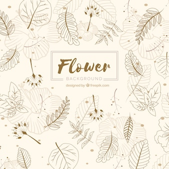 Fondo de flores en estilo hecho a mano