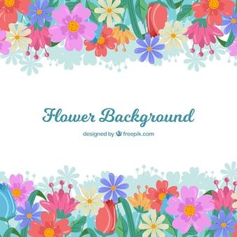 Fondo de flores en estilo plano