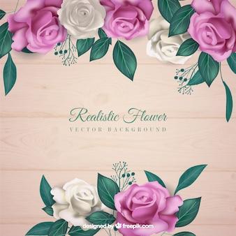 Fondo de flores en estilo realista