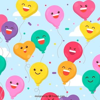 Fondo de globos de coloridos con lindas caras