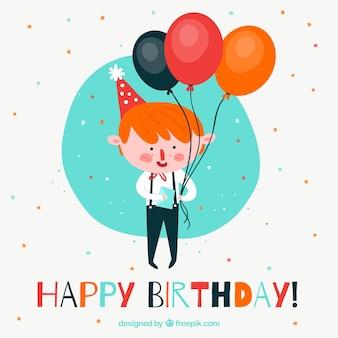 Fondo de globos de cumpleaños con chico feliz