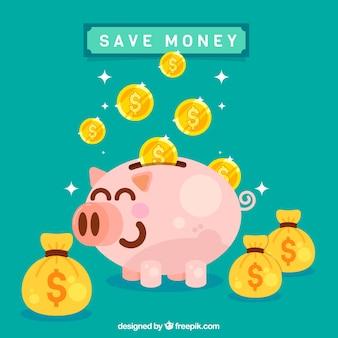 Fondo de graciosa hucha de cerdito con bolsas de dinero y monedas